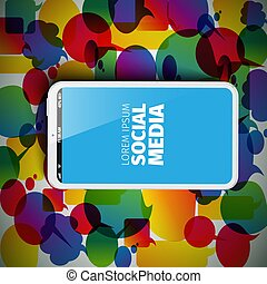 Social media abstract illustration with smartphone