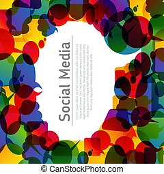 Social media abstract illustration with speech bubbles