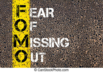 Social Media Acronym FOMO as FEAR OF MISSING OUT