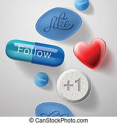 Social media addiction, pills capsules isolated, vector...