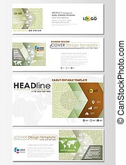 Social media and email headers set, modern banners. Abstract design template, flat layout. Green color background with leaves. Spa concept in linear style. Vector decoration for beauty industry