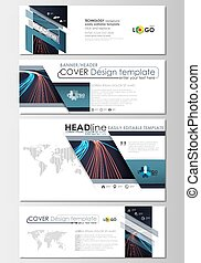 Social media and email headers set, modern banners. Business templates. Cover template, easy editable flat layout. Abstract lines background with color glowing neon streams, motion design vector.