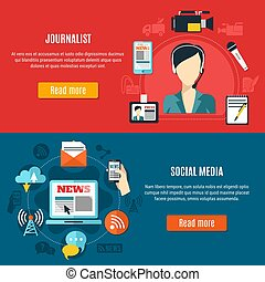 Social Media And Journalist Horizontal Banners - Social...