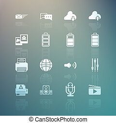 social media and Mobile Interface icons set on Retina background