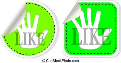 Social media and network concept. green like button set
