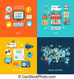 Social media and network connection concept. On line store. ...
