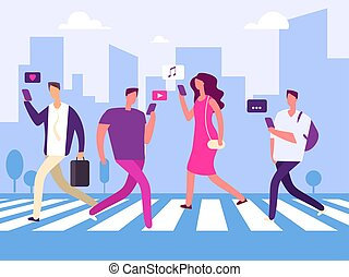 Social media and people in the big town vector concept