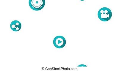 social media animation - falling icons social media design...