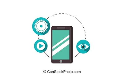 social media animation - smartphone around social media...