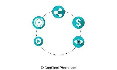 social media animation - social media icons around circle...
