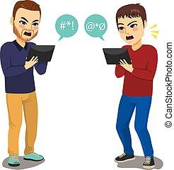 Social Media Argument - Two young men having an argument on...
