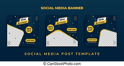 Social Media Banner with blue and yellow color design