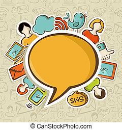 social, media, begrepp, knyter kontakt, kommunikation