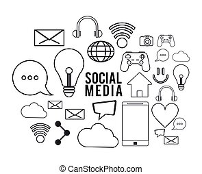 social media black white icon set. Vector graphic