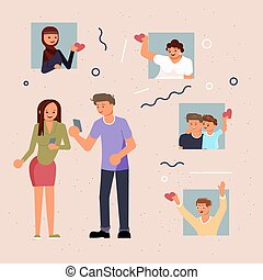 Male and Female social media blogger is attracting followers with likes. Influencers sharing with audience and social network concept. Flat Art Vector Illustration