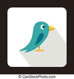 Social media blue bird icon, flat style