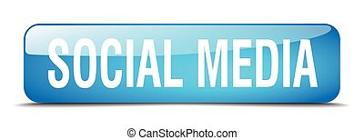 social media blue square 3d realistic isolated web button
