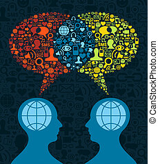 Social media brain communication - Two human figures face to...