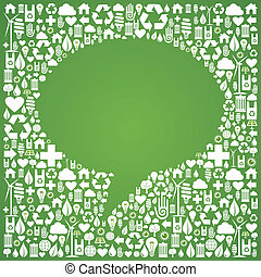 Social media bubble shape over eco icons background