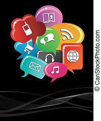 Social media bubble speech background