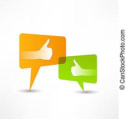 Social media bubble. Thumb Up.