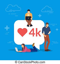 Social media bubble with red heart symbol. Young people using mobile gadgets for networking and collecting likes and comments. Laptop, tablet pc and smartphone. Flat vector illustration.