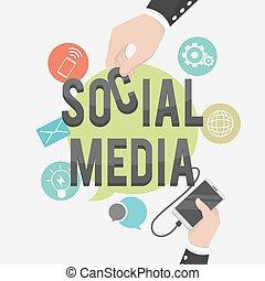 social media business illustration concept
