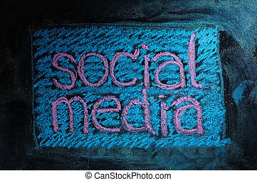 Social media business network connection and networking concept image of square blackboard / chalkboard.
