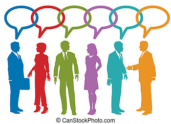 Social media business people talk speech bubble