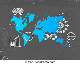 Social media business world map template concept