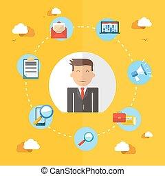 Social media businessman flat illustration