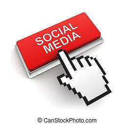 social media button concept 3d illustration