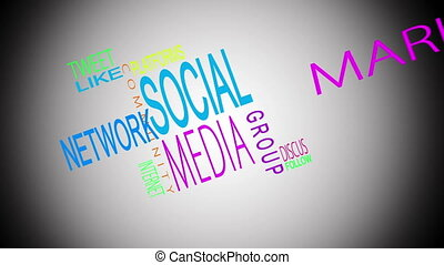 Social media buzzwords montage on white background with...