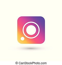 Social media camera color icon white background