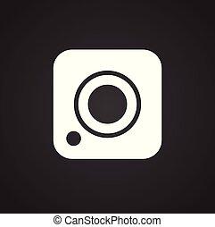Social media camera icon on white background