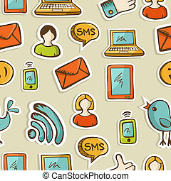 Social media cartoon icons pattern - Social media cartoon...