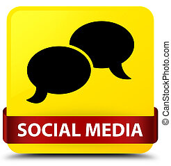 Social media (chat bubble icon) yellow square button red ribbon in middle