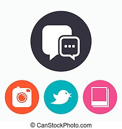 Social media. Chat speech bubble. Photo frames.