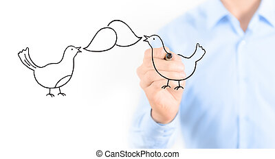 Social media chatting concept - Young businessman drawing...
