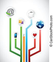 social media circuit diagram illustration design