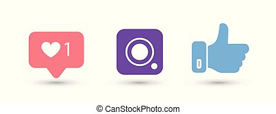 Social media color icons on white background