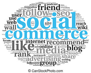 Social media commerce concept in word tag cloud on white background