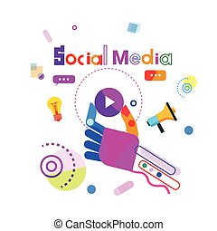 Social Media Communication Concept Hand Holding Player Button Internet Connection Banner