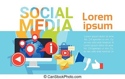 Social Media Communication Concept Internet Network Connection Banner