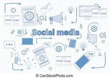 Social Media Communication Concept Internet Network Connection Banner Over Squared Background