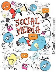 Social Media Communication Concept Internet Network Connection People Doodle Hand Draw Sketch Background