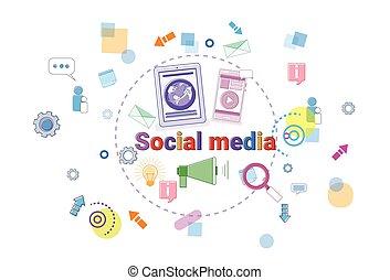 Social Media Communication Concept People Internet Connection Banner