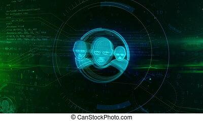 Social media communication in cyberspace symbol on digital...