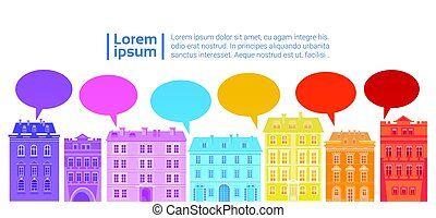 Social Media Communication Network Connection Colorful City Houses With Chat Bubble