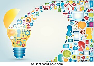 Social media communication. Online sharing. Discussion group people or friends exchanging information and ideas. Social network connection. Communicate community. Light bulb with icon application